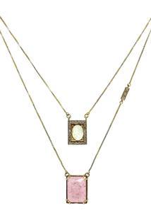 Colar Infine Escapulário Medalhas Em Frente Pedra Rosa Fusion - Kanui
