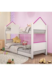 Beliche Infantil Casinha Prime Branco E Rosa Casah