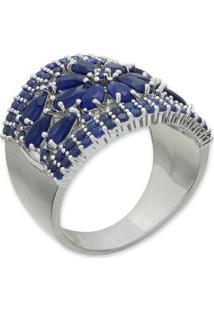 Anel Flor Cravejado Com Zircônias Azul Marinho E Banho Em Prata