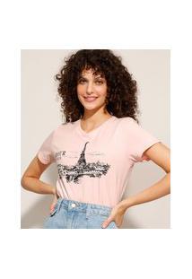 Camiseta Cropped De Algodão Paris Manga Curta Decote Redondo Rosa Claro
