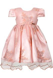 Vestido Infantil Cattai De Renda Salmão