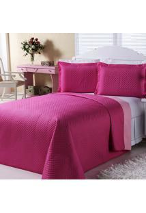 Cobre-Leito Dourados Enxovais Dual Color Pink E Rosa Casal 03 Peças