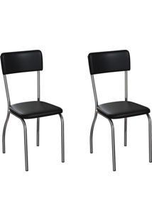 Conjunto Com 2 Cadeiras Nowra Preto E Cromado