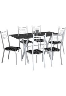 Conjunto De Mesa Miami Com 6 Cadeiras Lisboa Branco Liso E Preto Floral