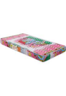 Colchão De Berço Baby Luxo D18 Rosa 130X70X12 Branco C/Ursinhos Celiflex