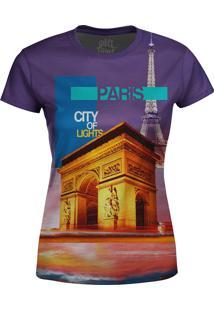 Camiseta Estampada Baby Look Over Fame Paris Roxo
