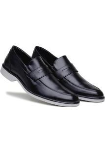 Sapato Social Masculino Elástico Bico Redondo Confortável - Masculino-Preto+Cinza