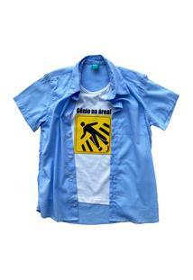 Camisa Infantil Menino Jokenpô Cambraia Gênio Azul