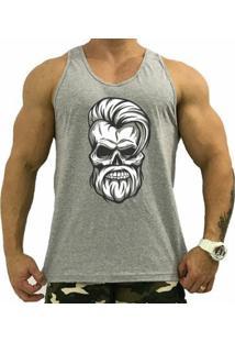 Regata Cavada Mxd Conceito Skull Beard Man Algodão Penteado Masculina - Masculino