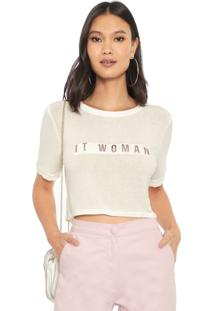 Camiseta Cropped Enna It Woman Off-White