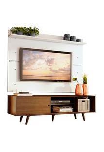 Rack Madesa Dubai E Painel Para Tv Até 65 Polegadas Com Pés Rustic/Branco 5Z9B Cor:Rustic/Branco/Rustic