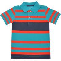 df3c12afc5 Camisa Polo Tommy Hilfiger Kids Listrada Azul Laranja