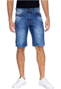 Bermuda Masculina Jeans Slim Kaue Azul
