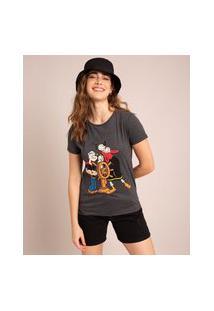 Camiseta Popeye E Olivia Manga Curta Decote Redondo Chumbo