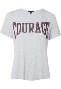 Camiseta Rosa Chá Courage Malha Cinza Mescla Feminina (Mescla, M)