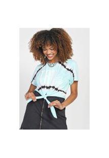 Camiseta Cropped Triton Tie Dye Azul/Preta