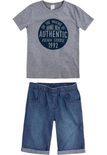 Conjunto Infantil Menino Com Camiseta Estampada E Bermuda Jeans Hering Kids