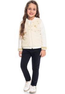 Conjunto Infantil Menina Jaqueta + Legging Milon Bege - Tricae