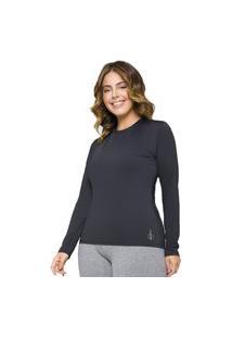 Camiseta Feminina Plus Size Proteçáo Solar Uv50+ Selene 24920 Preto