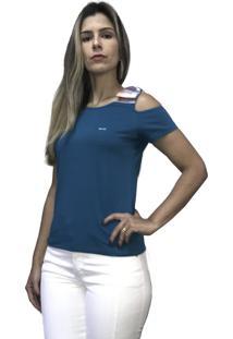 Camiseta Hifen Com Abertura No Ombro Azul - Kanui
