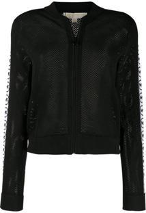 Michael Michael Kors Mesh-Knit Bomber Jacket - Preto