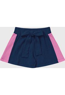 Bermuda Fakini Infantil Amarração Azul/Rosa