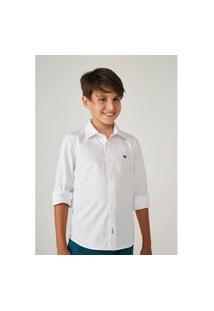 Camisa Hering Kids Manga Longa Em Tecido De Algodão Branco