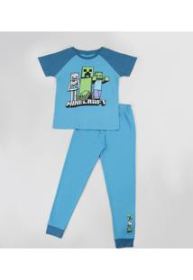 Pijama Infantil Minecraft Raglan Manga Curta Azul
