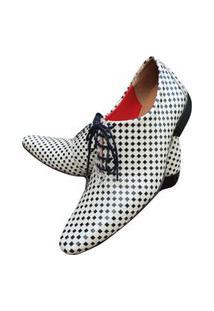Sapato Masculino Italiano Oxford Em Couro Art Sapatos Branco Xadrez