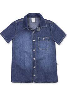 Camisa Jeans Infantil Menino Manga Curta E Lavação Escura Hering Kids fd139f12dad5