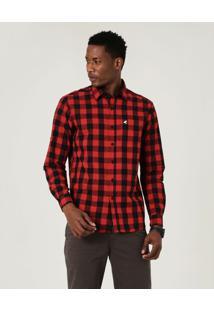 Camisa Xadrez Fio Tinto Masculina Malwee Vermelho - Xgg