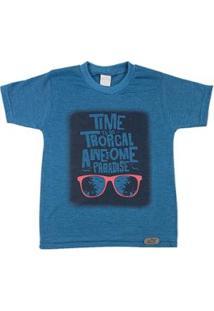 Camiseta Infantil Ano Zero Time To Go Tropical Masculina - Masculino-Azul