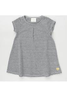 Vestido Infantil Estampado Quadriculado Manga Curta Preto