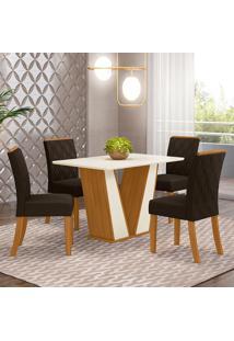 Conjunto De Mesa Com 4 Cadeiras Para Sala De Jantar Paris-Henn - Nature / Off White / Marrom