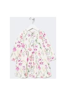 Vestido Infantil Estampa Floral - Tam 1 A 5 Anos   Póim (1 A 5 Anos)   Branco   05