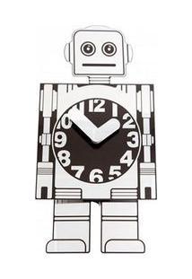 Relógio De Parede Robô De Alumínio Prata