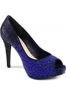 Peep Toe Feminino Stiletto Com Strass Zariff Shoes 89086194
