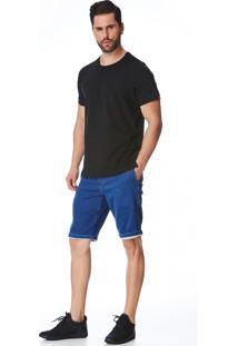 Bermuda Jeans Elástico Ricardo Azul Marinho