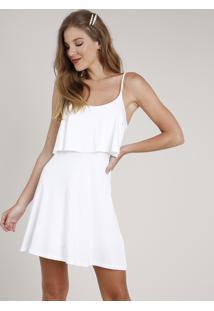 Vestido Feminino Curto Evasê Com Sobreposição Alça Fina Off White