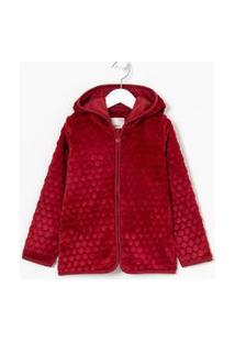 Casaco Infantil Com Capuz Em Fleece - Tam 6 A 14 | Fuzarka (5 A 14 Anos) | Vermelho | 9-10