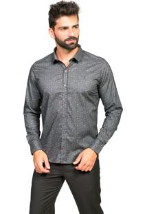 Camisa Manga Longa Tony Menswear Slim Estampada Cinza