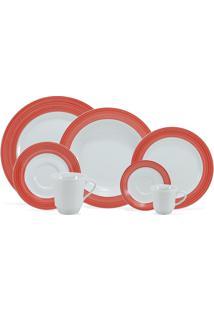 Aparelho De Jantar, Chá E Café Porcelana Schmidt 42 Peças - Dec. Saturno Vermelho