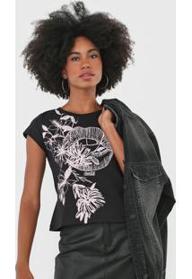 Camiseta Coca-Cola Jeans Floral Preta - Preto - Feminino - Algodã£O - Dafiti