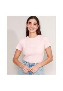 "Camiseta Cropped Canelada Com Bordado ""Exhausted"" Manga Curta Decote Redondo Rosa Claro"