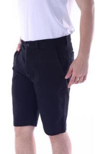 Bermuda Sarja Chino Regular Com Elastano Traymon Masculina - Masculino-Preto