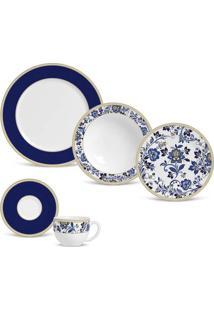 Aparelho De Jantar Flat Classic Blue Cerâmica 20 Peças Porto Brasil
