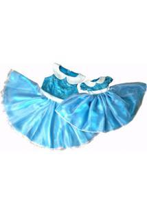 Vestido Infantil Tal Mãe Tal Filha Com Detalhe De Pérolas Liminha Doce Azul