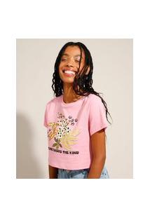 """Camiseta Cropped De Algodão """"Fortune Favors The Kind"""" Floral Manga Curta Decote Redondo Rosa"""