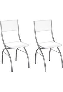 Conjunto Com 2 Cadeiras Dubbo Branco E Cromado