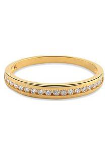 Meia Aliança Ouro Amarelo Com 10,5 Pontos De Diamantes